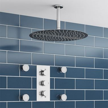 Addison Concealed Shower Valve, Fixed Shower Head & Body Jets - 150mm Arm
